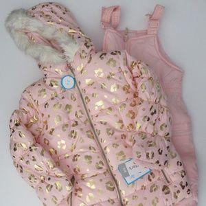 NWT Carter's Girls Hooded Snowsuit Jacket Bibs NEW
